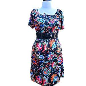 Vintage 1970s Black Spray Paint Dress  Black and Pink Floral Dress  Size L